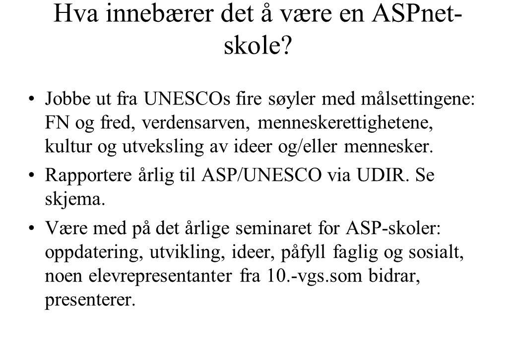 Hva innebærer det å være en ASPnet- skole? •Jobbe ut fra UNESCOs fire søyler med målsettingene: FN og fred, verdensarven, menneskerettighetene, kultur
