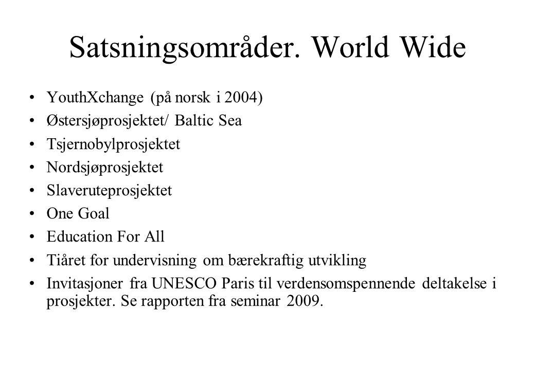 Satsningsområder. World Wide •YouthXchange (på norsk i 2004) •Østersjøprosjektet/ Baltic Sea •Tsjernobylprosjektet •Nordsjøprosjektet •Slaveruteprosje