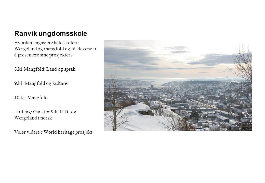 Ranvik ungdomsskole Hvordan engasjere hele skolen i Wergeland og mangfold og få elevene til å presentere sine prosjekter? 8.kl:Mangfold: Land og språk