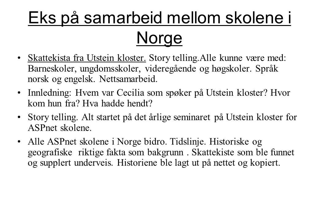 Eks på samarbeid mellom skolene i Norge •Skattekista fra Utstein kloster. Story telling.Alle kunne være med: Barneskoler, ungdomsskoler, videregående