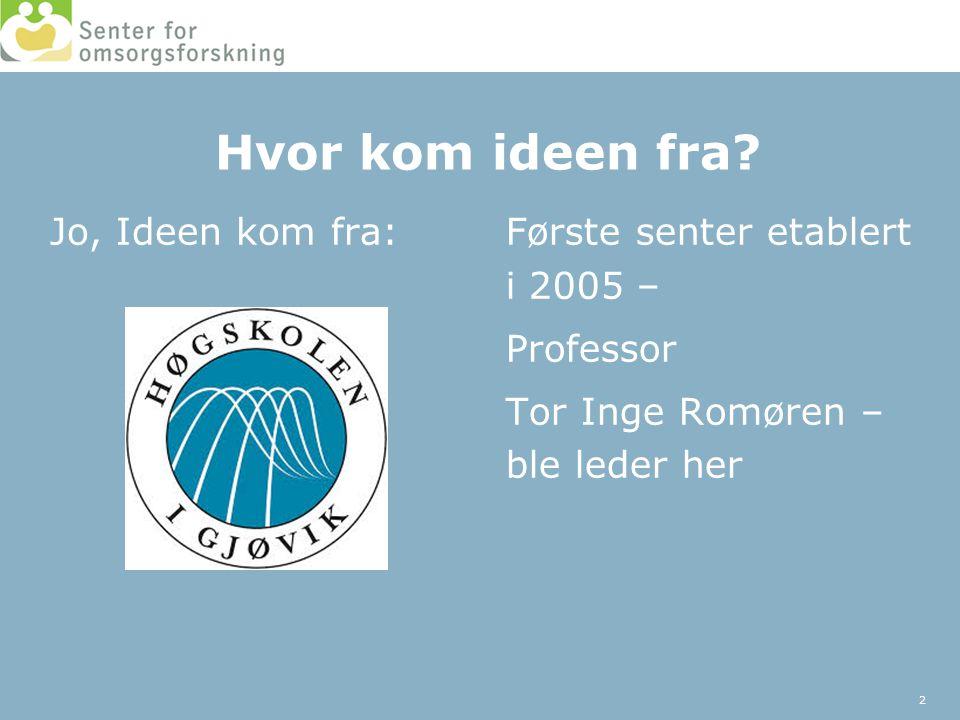 Hvor kom ideen fra? Jo, Ideen kom fra:Første senter etablert i 2005 – Professor Tor Inge Romøren – ble leder her 2