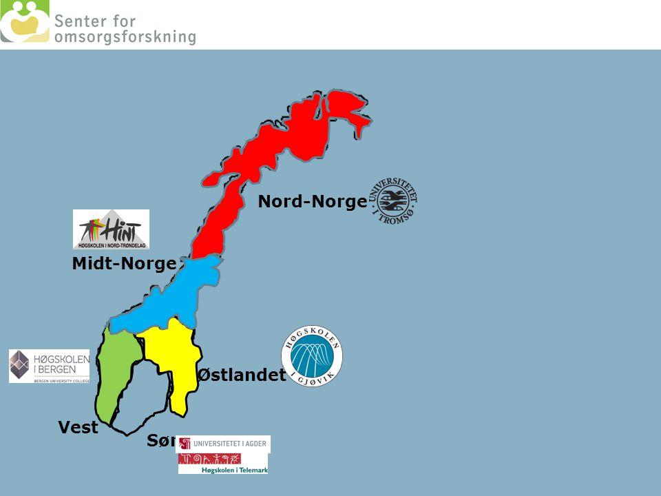 Nord-Norge Midt-Norge Østlandet Sør Vest