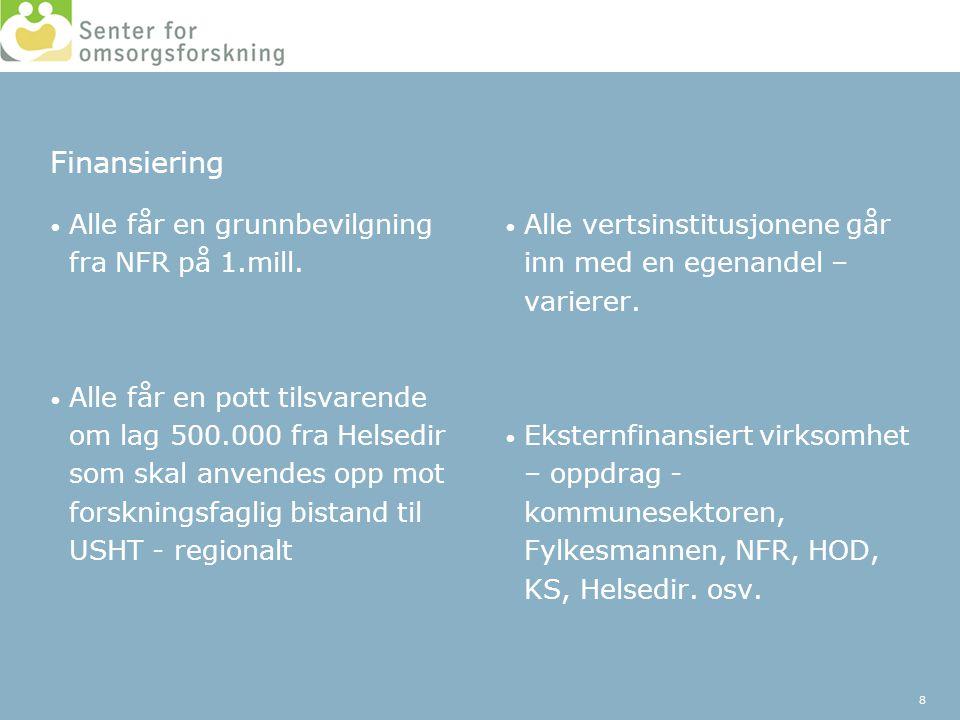 Finansiering • Alle får en grunnbevilgning fra NFR på 1.mill. • Alle får en pott tilsvarende om lag 500.000 fra Helsedir som skal anvendes opp mot for