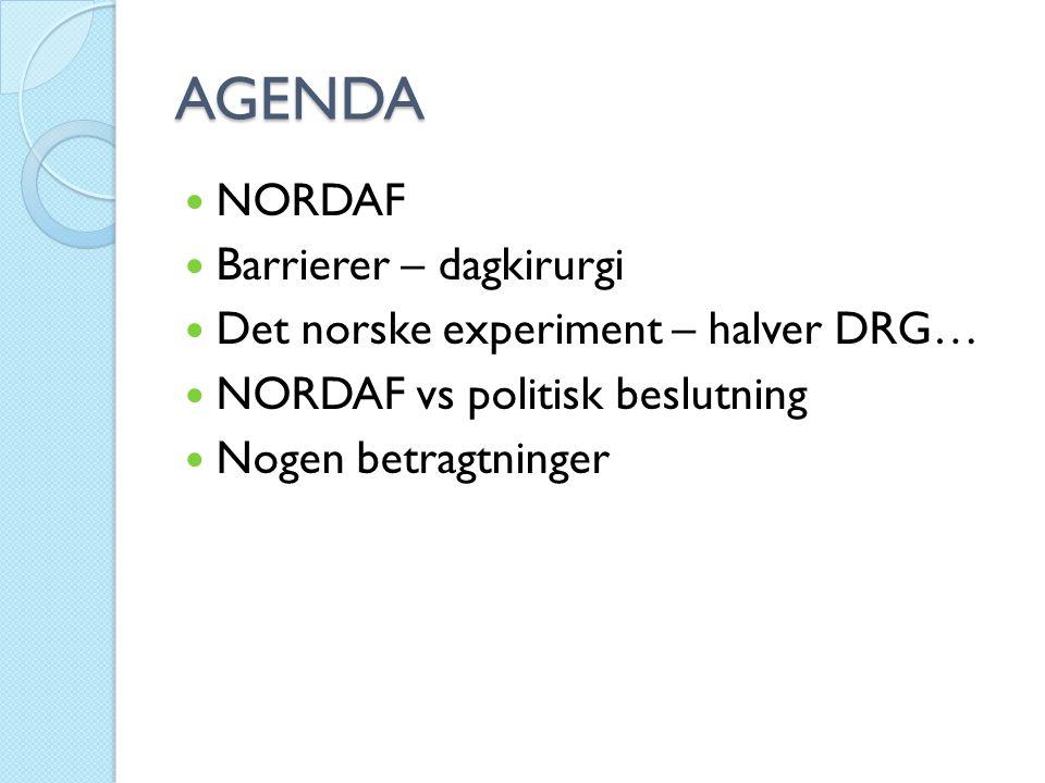 AGENDA  NORDAF  Barrierer – dagkirurgi  Det norske experiment – halver DRG…  NORDAF vs politisk beslutning  Nogen betragtninger
