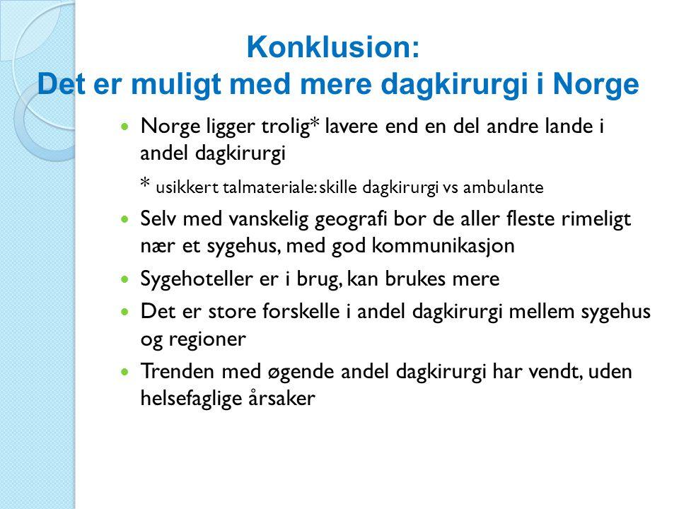 Konklusion: Det er muligt med mere dagkirurgi i Norge  Norge ligger trolig* lavere end en del andre lande i andel dagkirurgi * usikkert talmateriale:
