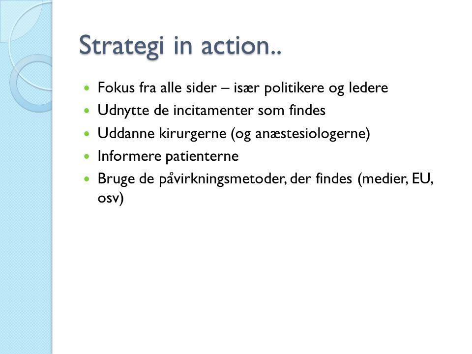 Strategi in action..  Fokus fra alle sider – især politikere og ledere  Udnytte de incitamenter som findes  Uddanne kirurgerne (og anæstesiologerne