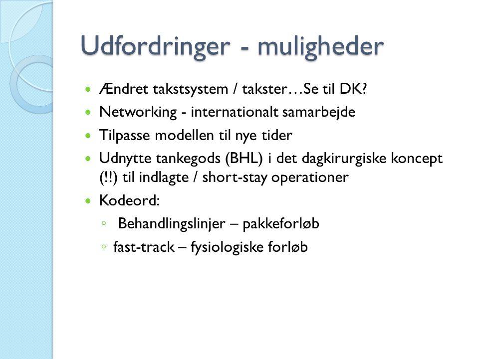 Udfordringer - muligheder  Ændret takstsystem / takster…Se til DK?  Networking - internationalt samarbejde  Tilpasse modellen til nye tider  Udnyt
