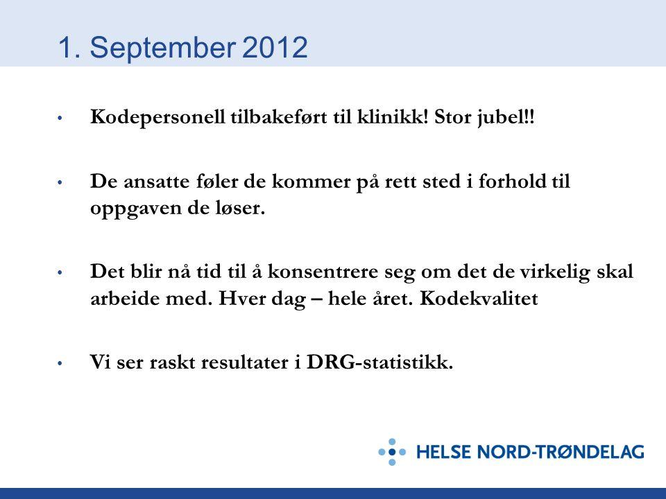 1. September 2012 • Kodepersonell tilbakeført til klinikk! Stor jubel!! • De ansatte føler de kommer på rett sted i forhold til oppgaven de løser. • D