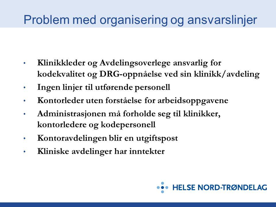 Problem med organisering og ansvarslinjer • Klinikkleder og Avdelingsoverlege ansvarlig for kodekvalitet og DRG-oppnåelse ved sin klinikk/avdeling • I