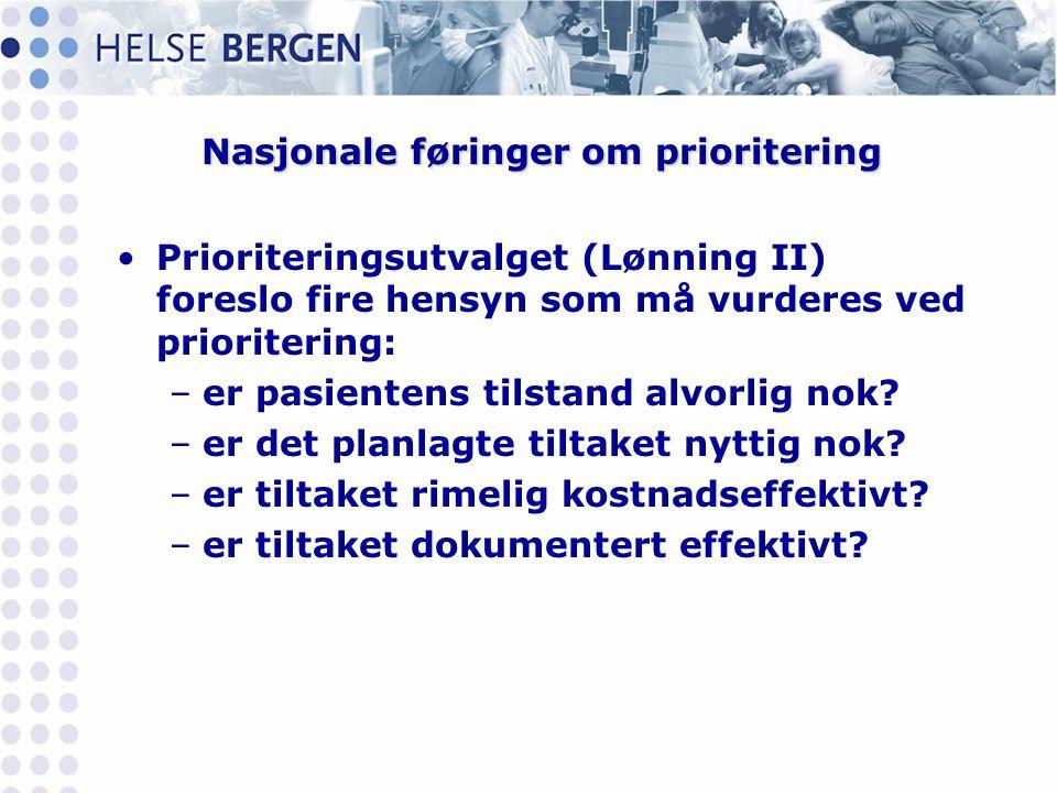 Nasjonale føringer om prioritering •Prioriteringsutvalget (Lønning II) foreslo fire hensyn som må vurderes ved prioritering: –er pasientens tilstand a
