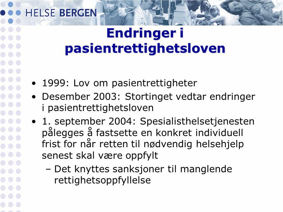 Endringer i pasientrettighetsloven •1999: Lov om pasientrettigheter •Desember 2003: Stortinget vedtar endringer i pasientrettighetsloven •1. september