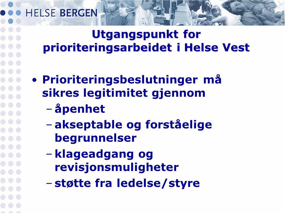 Utgangspunkt for prioriteringsarbeidet i Helse Vest •Prioriteringsbeslutninger må sikres legitimitet gjennom –åpenhet –akseptable og forståelige begru
