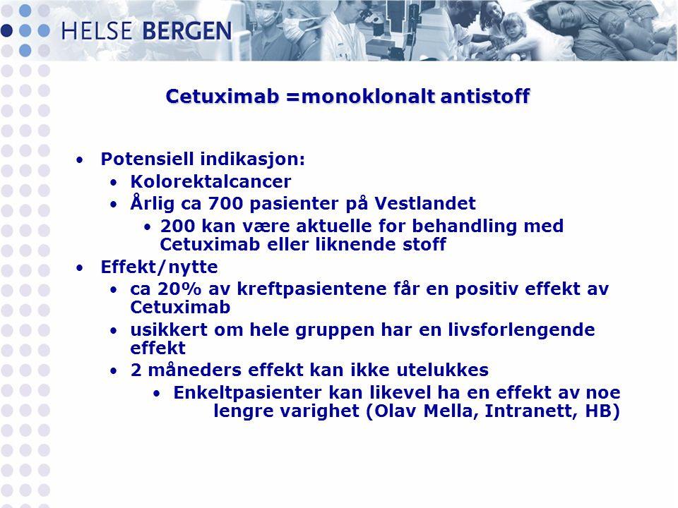 Cetuximab =monoklonalt antistoff •Potensiell indikasjon: •Kolorektalcancer •Årlig ca 700 pasienter på Vestlandet •200 kan være aktuelle for behandling