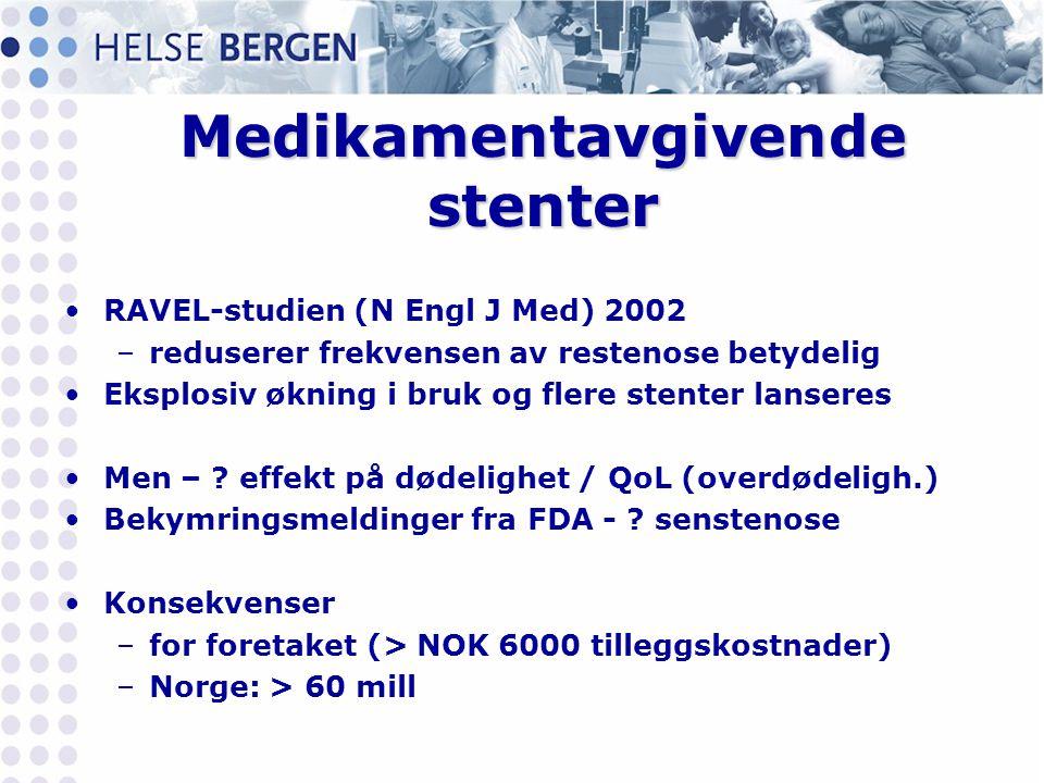 Medikamentavgivende stenter •RAVEL-studien (N Engl J Med) 2002 –reduserer frekvensen av restenose betydelig •Eksplosiv økning i bruk og flere stenter