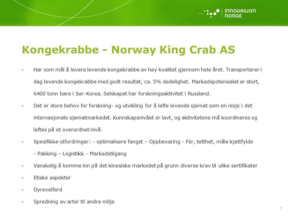 7 Kongekrabbe - Norway King Crab AS • Har som mål å levere levende kongekrabbe av høy kvalitet gjennom hele året. Transporterer i dag levende kongekra