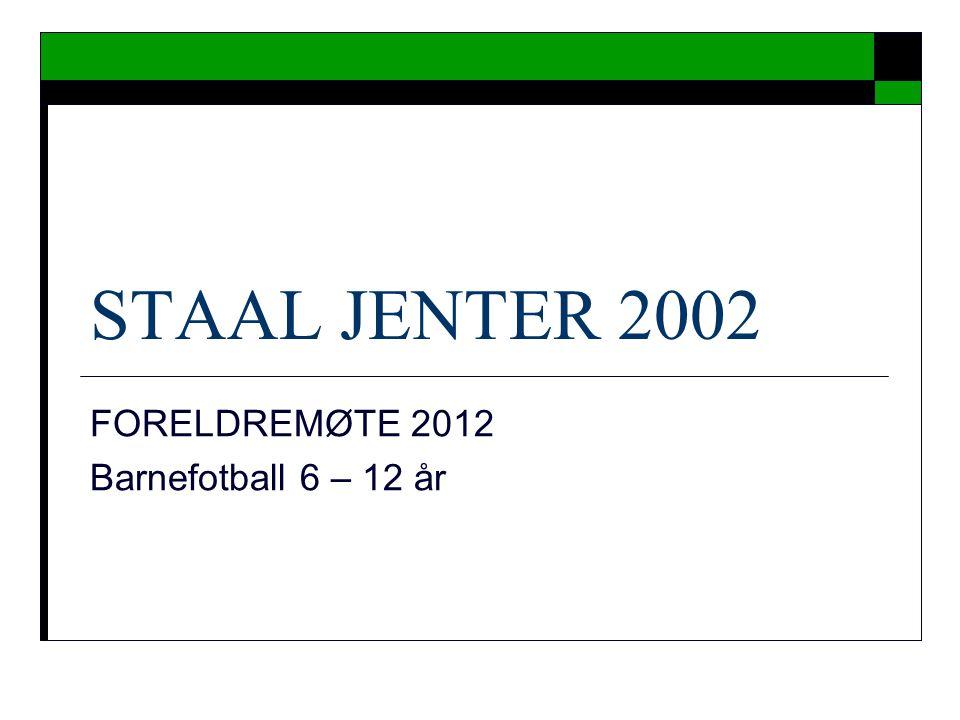 STAAL JENTER 2002 FORELDREMØTE 2012 Barnefotball 6 – 12 år
