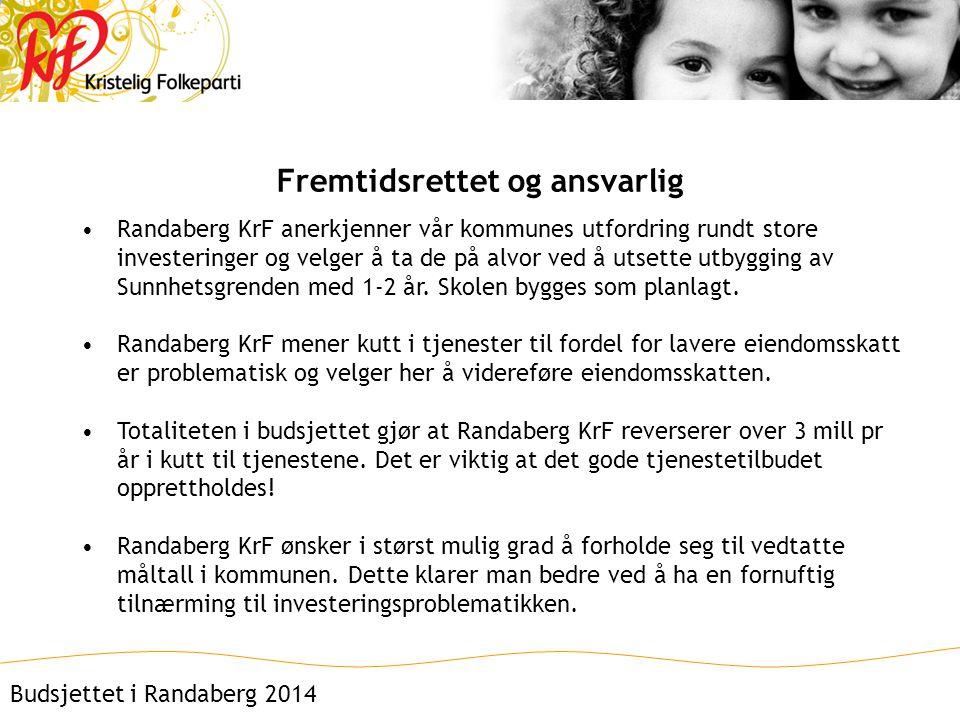 Fremtidsrettet og ansvarlig •Randaberg KrF anerkjenner vår kommunes utfordring rundt store investeringer og velger å ta de på alvor ved å utsette utbygging av Sunnhetsgrenden med 1-2 år.