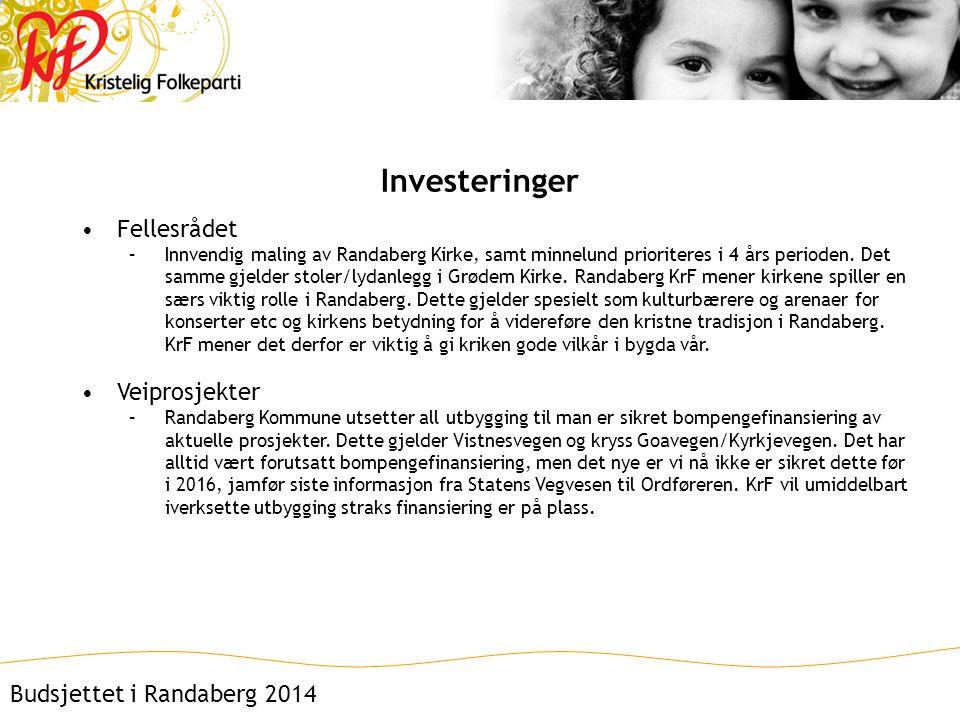 Investeringer •Fellesrådet –Innvendig maling av Randaberg Kirke, samt minnelund prioriteres i 4 års perioden.
