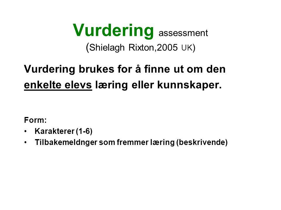 Vurdering assessment ( Shielagh Rixton,2005 UK ) Vurdering brukes for å finne ut om den enkelte elevs læring eller kunnskaper. Form: •Karakterer (1-6