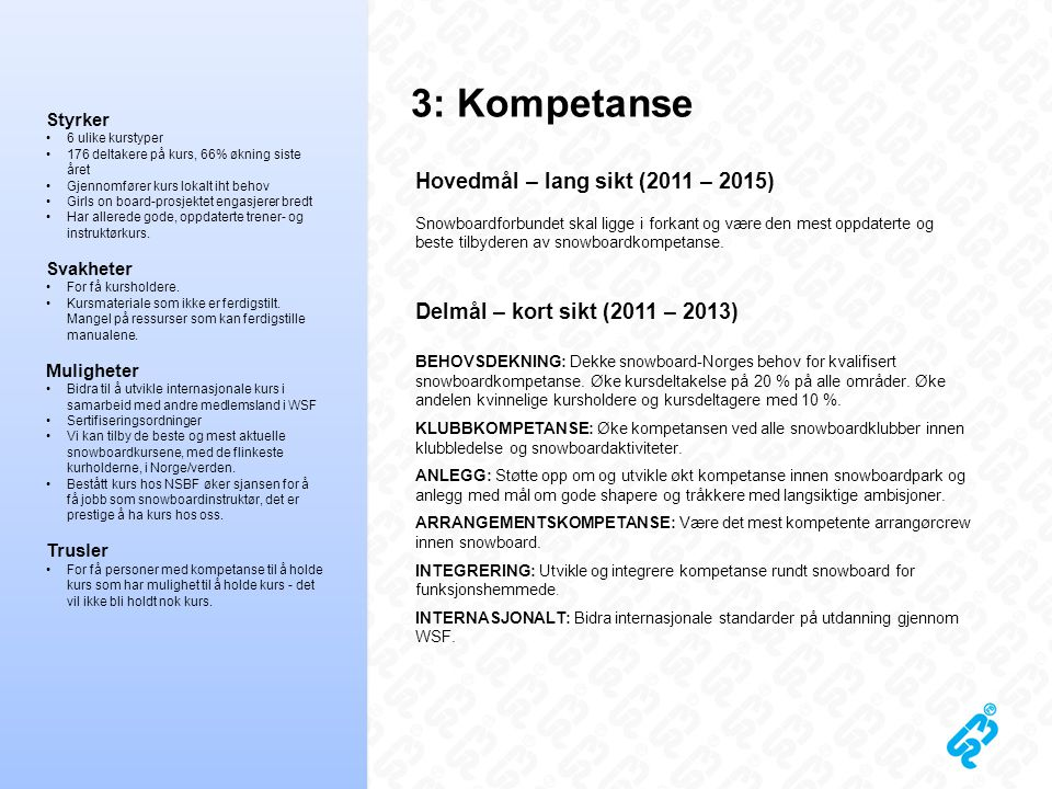 3: Kompetanse Hovedmål – lang sikt (2011 – 2015) Snowboardforbundet skal ligge i forkant og være den mest oppdaterte og beste tilbyderen av snowboardk