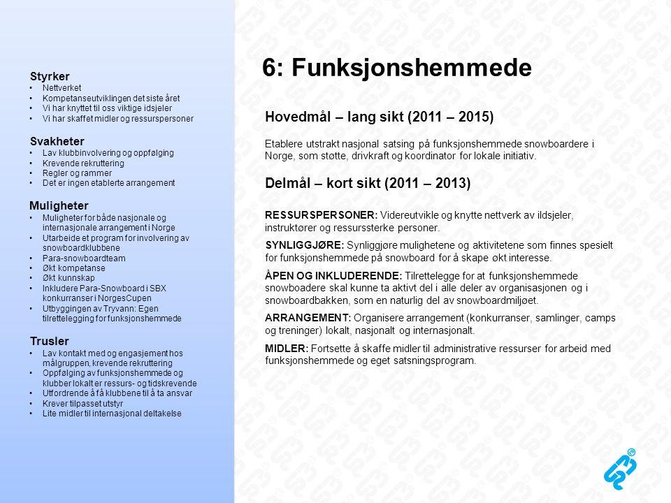 6: Funksjonshemmede Hovedmål – lang sikt (2011 – 2015) Etablere utstrakt nasjonal satsing på funksjonshemmede snowboardere i Norge, som støtte, drivkr