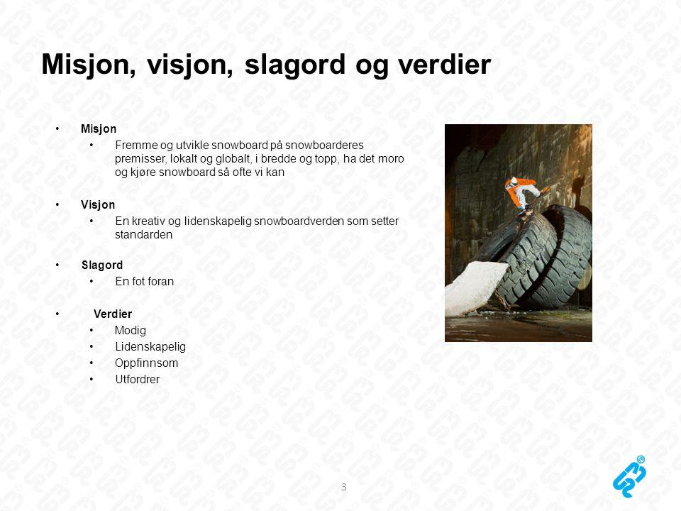 Misjon, visjon, slagord og verdier 3 •Misjon •Fremme og utvikle snowboard på snowboarderes premisser, lokalt og globalt, i bredde og topp, ha det moro