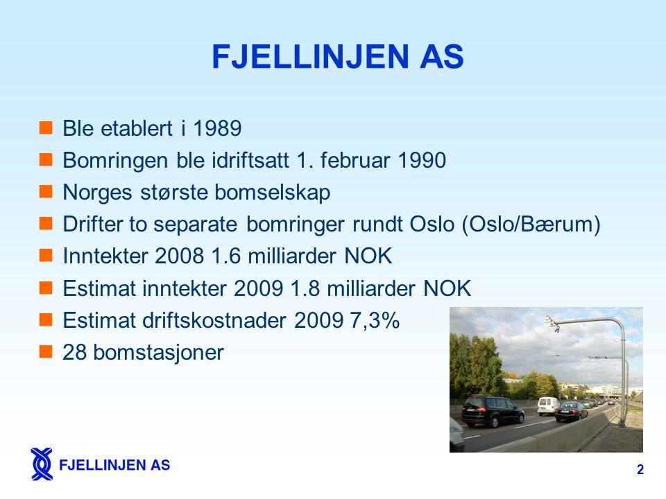 2 FJELLINJEN AS  Ble etablert i 1989  Bomringen ble idriftsatt 1. februar 1990  Norges største bomselskap  Drifter to separate bomringer rundt Osl