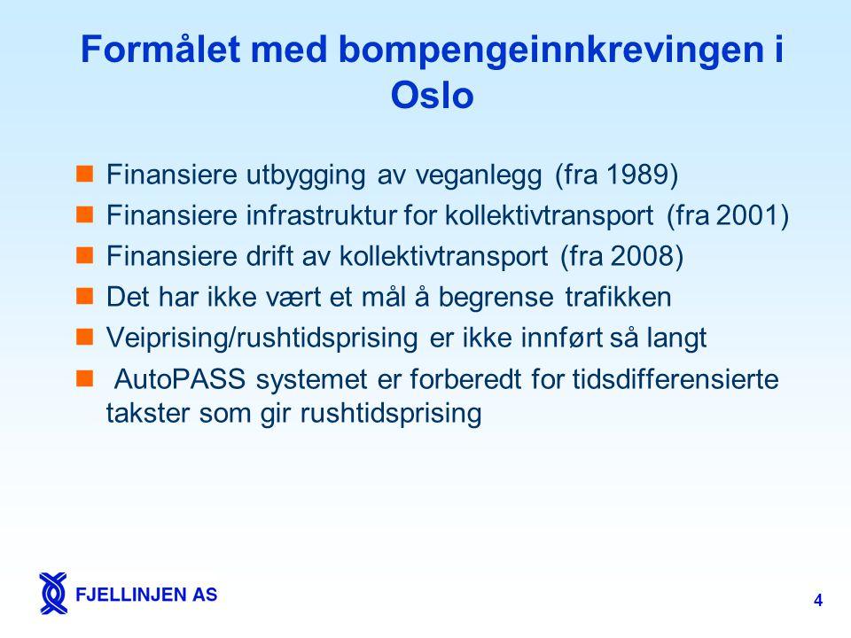 4 Formålet med bompengeinnkrevingen i Oslo  Finansiere utbygging av veganlegg (fra 1989)  Finansiere infrastruktur for kollektivtransport (fra 2001)