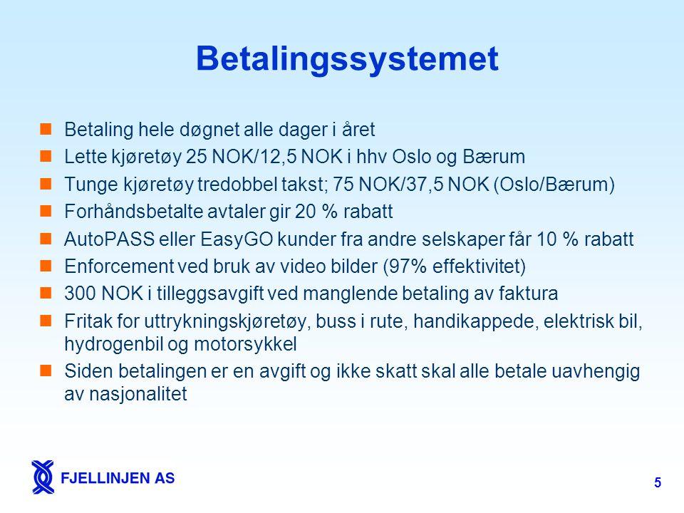 5 Betalingssystemet  Betaling hele døgnet alle dager i året  Lette kjøretøy 25 NOK/12,5 NOK i hhv Oslo og Bærum  Tunge kjøretøy tredobbel takst; 75