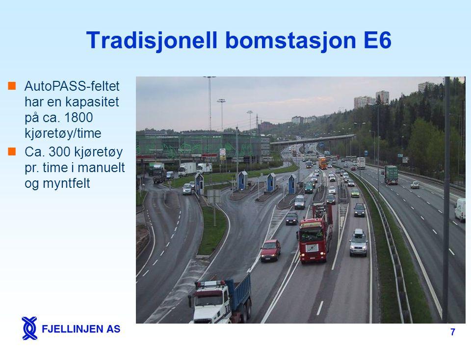 7 Tradisjonell bomstasjon E6  AutoPASS-feltet har en kapasitet på ca. 1800 kjøretøy/time  Ca. 300 kjøretøy pr. time i manuelt og myntfelt