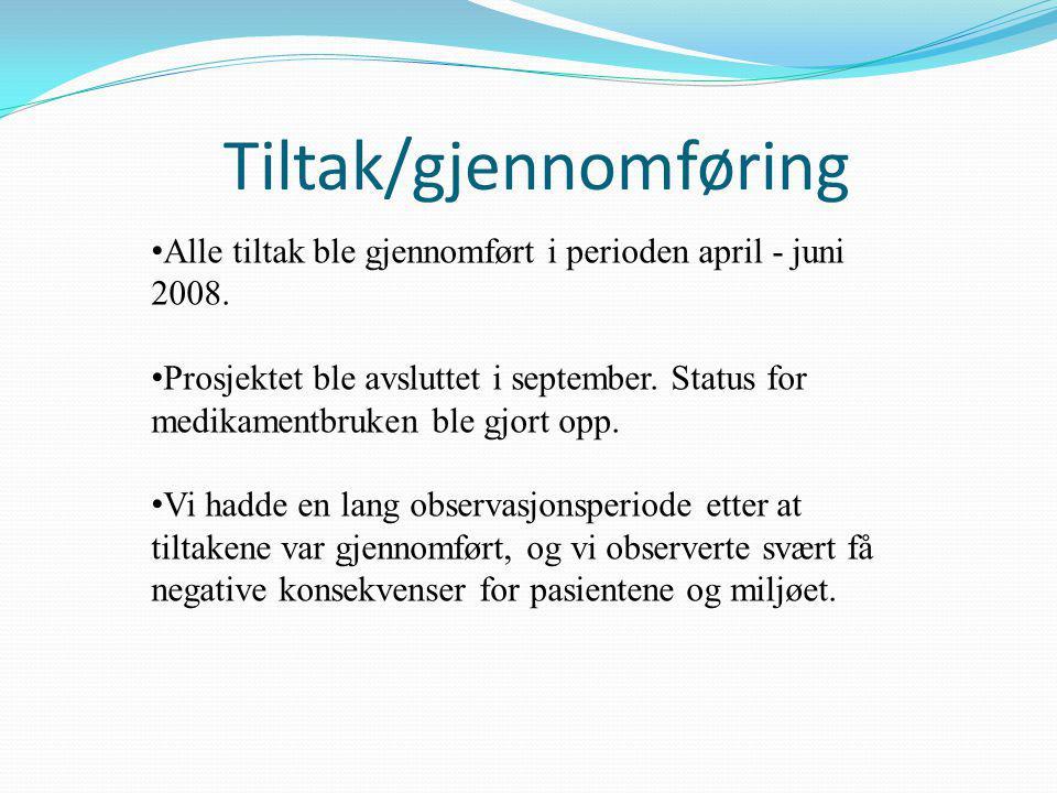 Tiltak/gjennomføring • Alle tiltak ble gjennomført i perioden april - juni 2008.