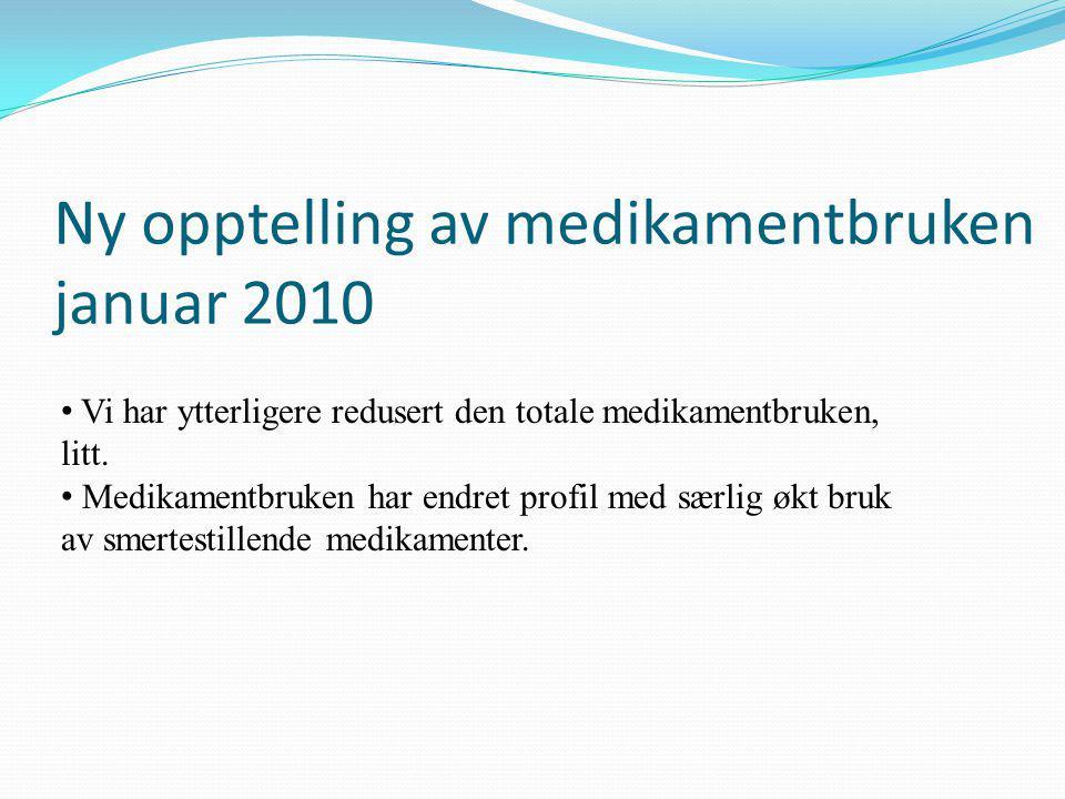 Ny opptelling av medikamentbruken januar 2010 • Vi har ytterligere redusert den totale medikamentbruken, litt.