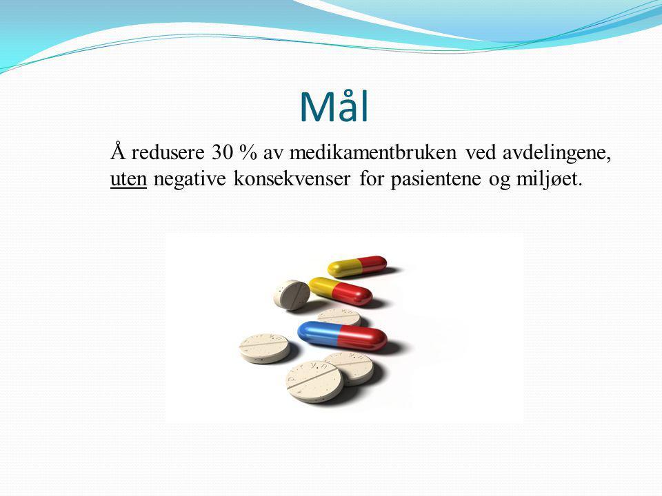 Å redusere 30 % av medikamentbruken ved avdelingene, uten negative konsekvenser for pasientene og miljøet.