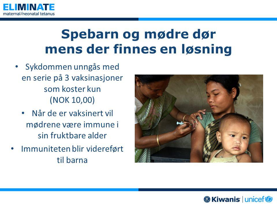 Spebarn og mødre dør mens der finnes en løsning • Sykdommen unngås med en serie på 3 vaksinasjoner som koster kun (NOK 10,00) • Når de er vaksinert vi