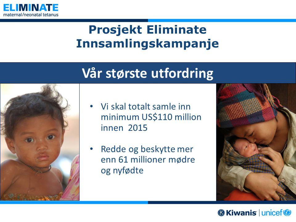 Prosjekt Eliminate Innsamlingskampanje • Vi skal totalt samle inn minimum US$110 million innen 2015 • Redde og beskytte mer enn 61 millioner mødre og