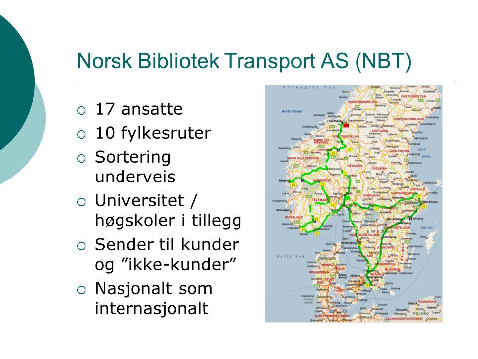 Svensk Bibliotek Transport AB (SBT)  Nylig vunnet anbud i Sverige  I stadig vekst  5 ansatte  Avtale med de aller fleste høgskoler og universitet (avroper fortløpende)  Sender til kunder og ikke-kunder  Nasjonalt / internasjonalt