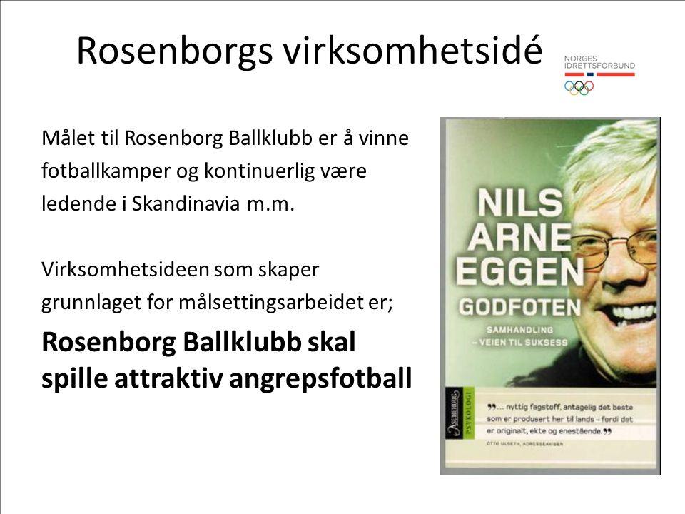 Rosenborgs virksomhetsidé Målet til Rosenborg Ballklubb er å vinne fotballkamper og kontinuerlig være ledende i Skandinavia m.m.