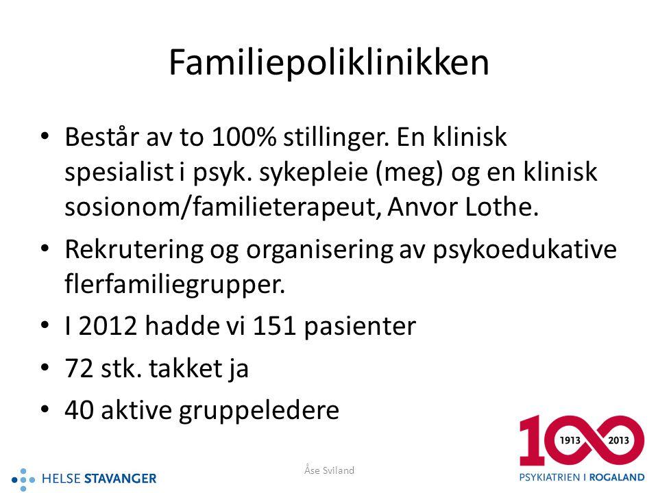 Familiepoliklinikken • Består av to 100% stillinger. En klinisk spesialist i psyk. sykepleie (meg) og en klinisk sosionom/familieterapeut, Anvor Lothe
