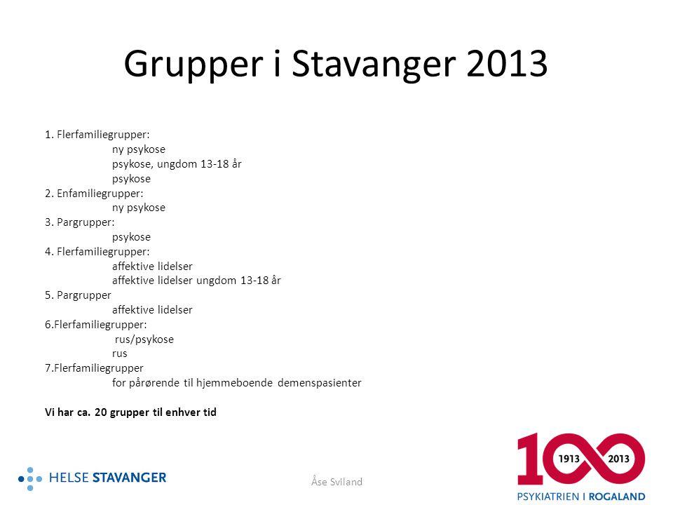 Grupper i Stavanger 2013 1. Flerfamiliegrupper: ny psykose psykose, ungdom 13-18 år psykose 2. Enfamiliegrupper: ny psykose 3. Pargrupper: psykose 4.