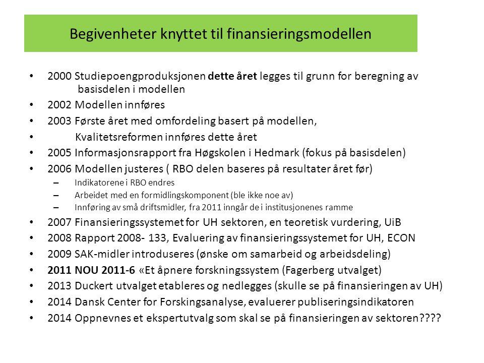 Begivenheter knyttet til finansieringsmodellen • 2000 Studiepoengproduksjonen dette året legges til grunn for beregning av basisdelen i modellen • 200