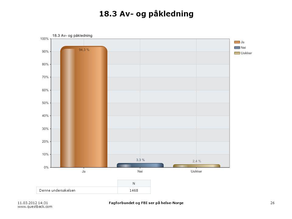 11.03.2012 14:31 www.questback.com Fagforbundet og FBI ser på helse-Norge26 18.3 Av- og påkledning N Denne undersøkelsen1468