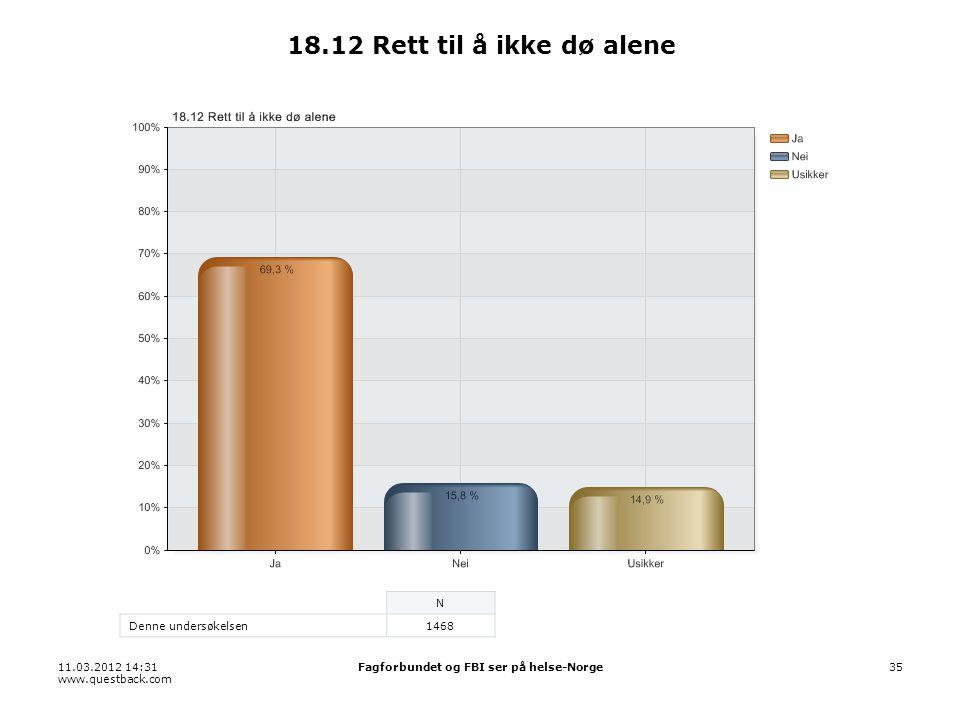 11.03.2012 14:31 www.questback.com Fagforbundet og FBI ser på helse-Norge35 18.12 Rett til å ikke dø alene N Denne undersøkelsen1468