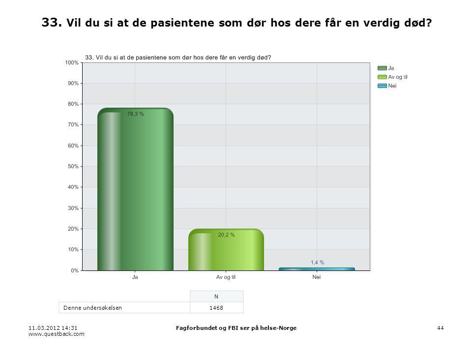 11.03.2012 14:31 www.questback.com Fagforbundet og FBI ser på helse-Norge44 33.