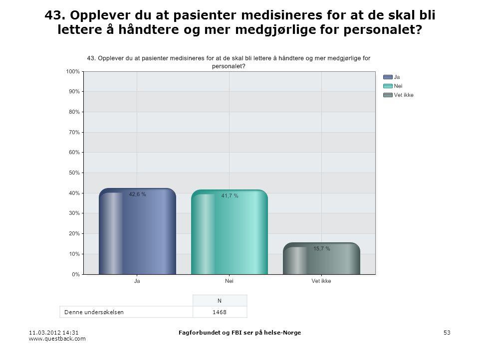 11.03.2012 14:31 www.questback.com Fagforbundet og FBI ser på helse-Norge53 43. Opplever du at pasienter medisineres for at de skal bli lettere å hånd