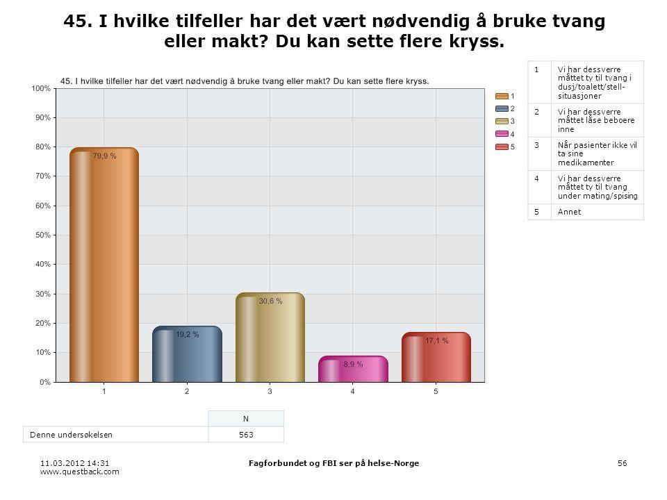 11.03.2012 14:31 www.questback.com Fagforbundet og FBI ser på helse-Norge56 45.