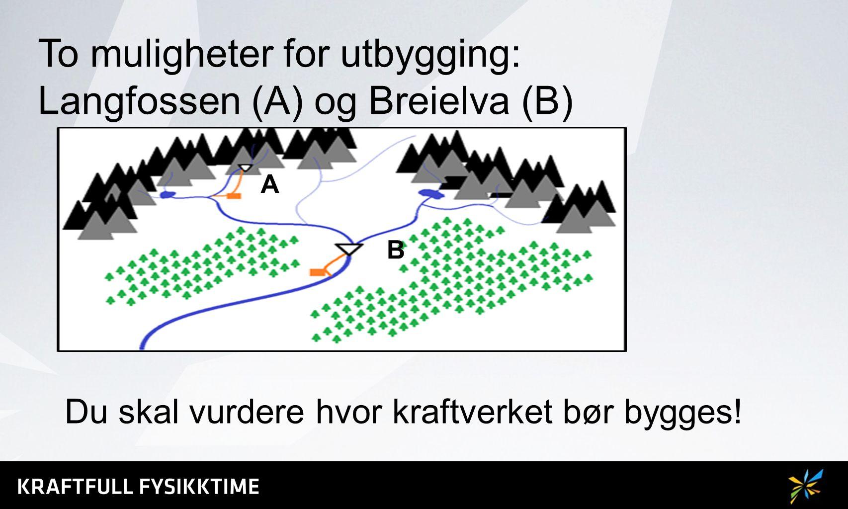To muligheter for utbygging: Langfossen (A) og Breielva (B) A B Du skal vurdere hvor kraftverket bør bygges!