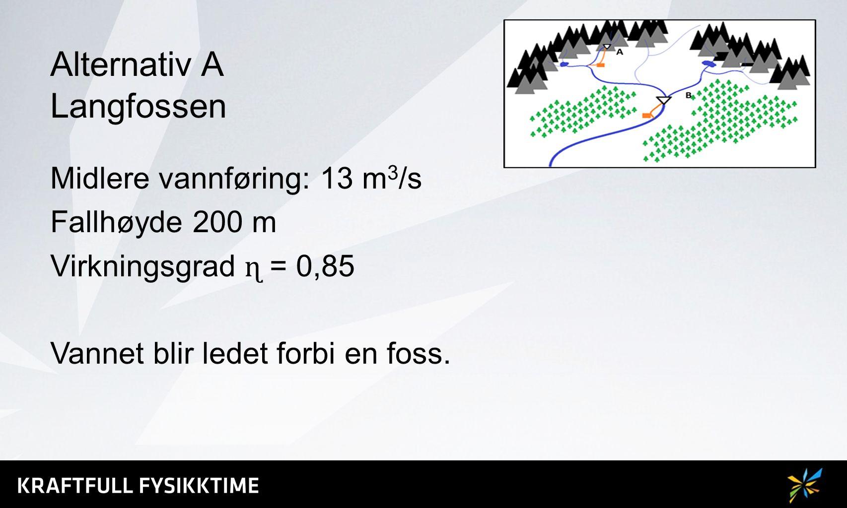 Alternativ A Langfossen Midlere vannføring: 13 m 3 /s Fallhøyde 200 m Virkningsgrad ɳ = 0,85 Vannet blir ledet forbi en foss.