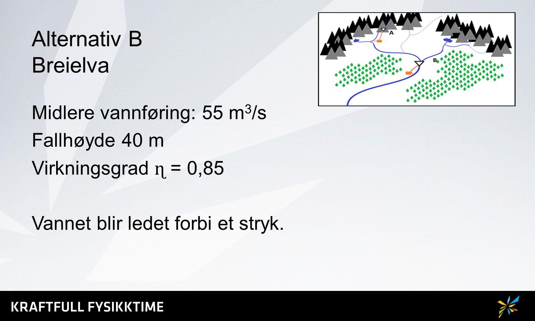 Alternativ B Breielva Midlere vannføring: 55 m 3 /s Fallhøyde 40 m Virkningsgrad ɳ = 0,85 Vannet blir ledet forbi et stryk.