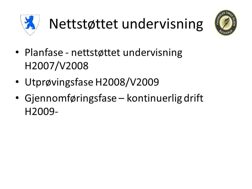Nettstøttet undervisning • Planfase - nettstøttet undervisning H2007/V2008 • Utprøvingsfase H2008/V2009 • Gjennomføringsfase – kontinuerlig drift H200