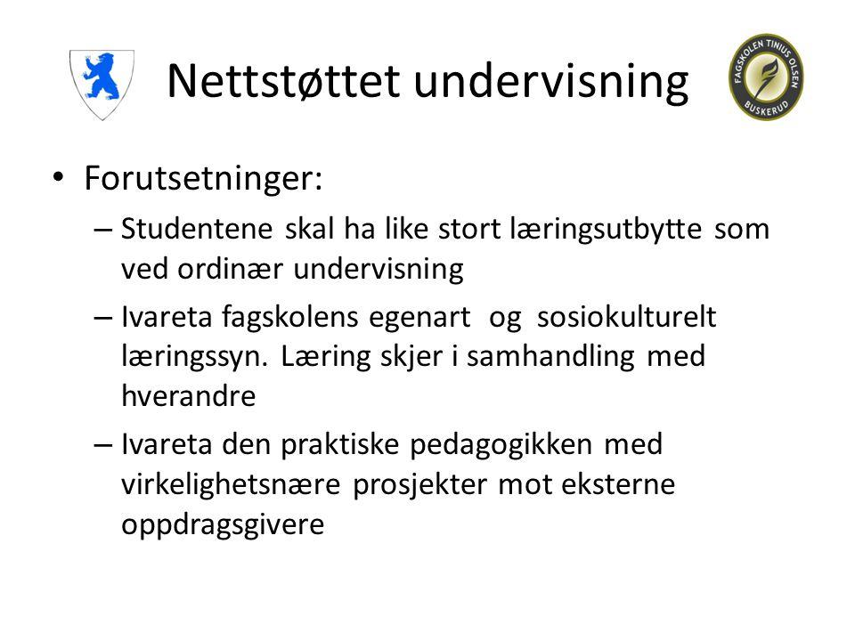 Nettstøttet undervisning • Forutsetninger: – Studentene skal ha like stort læringsutbytte som ved ordinær undervisning – Ivareta fagskolens egenart og